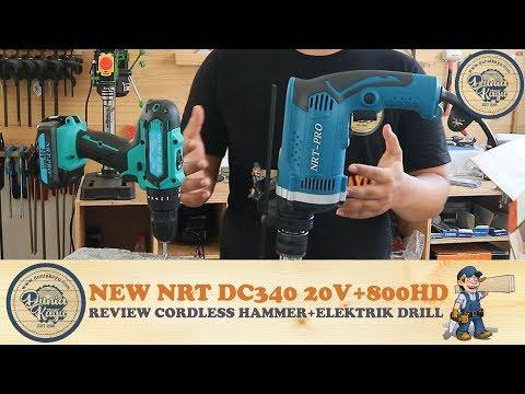 NEW Cordless Impact Hammer Drill NRT PRO DC 340  20V Baterai + Bor Tembok Beton Listrik NRT 800HD