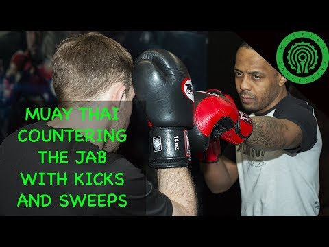 Muay Thai Sparring - Using Kicks & Sweeps To Counter Your Opponents Jab