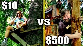 $10 VS $500 Tree House Fort! *Budget Challenge*