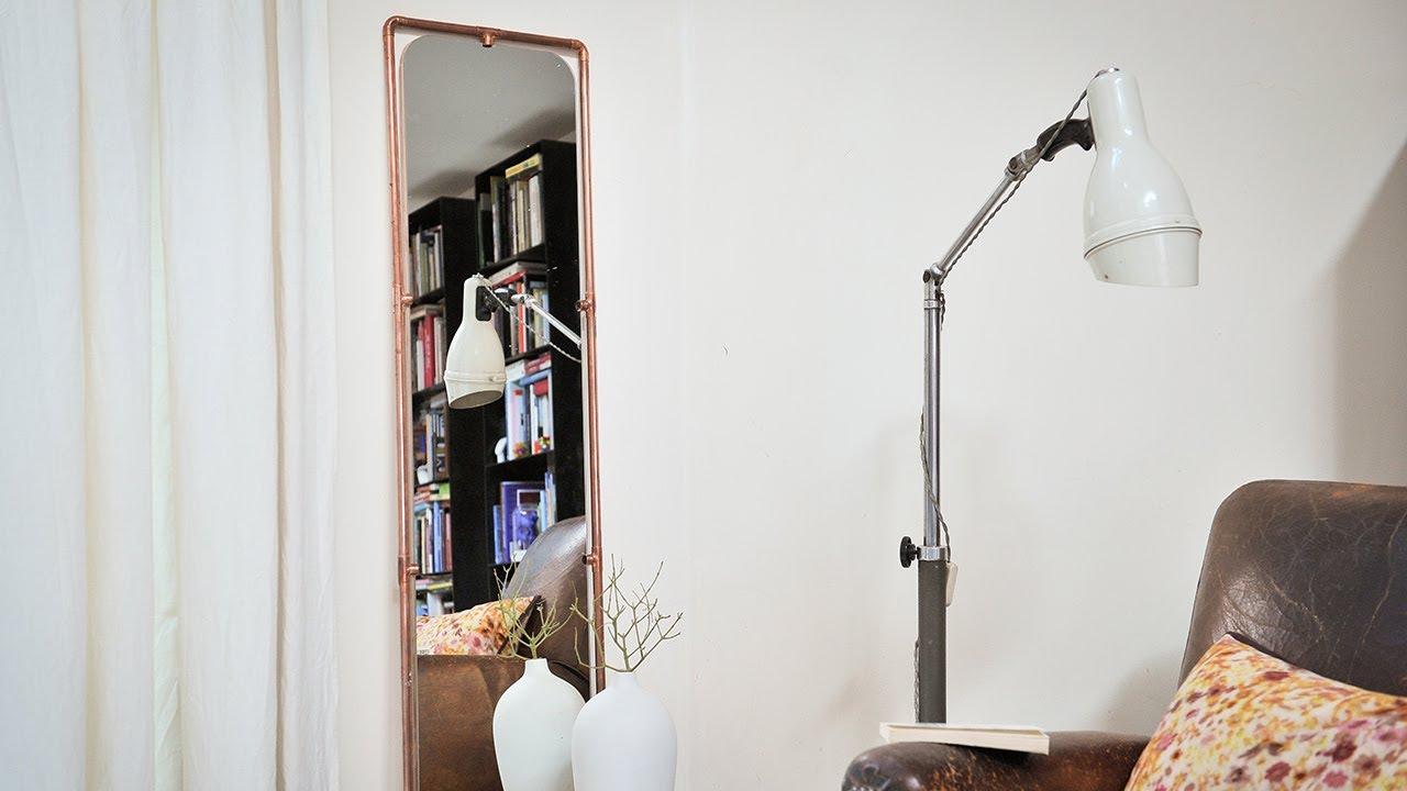 project tutorial spiegel aus kupferrohren selbst bauen diy idee youtube. Black Bedroom Furniture Sets. Home Design Ideas