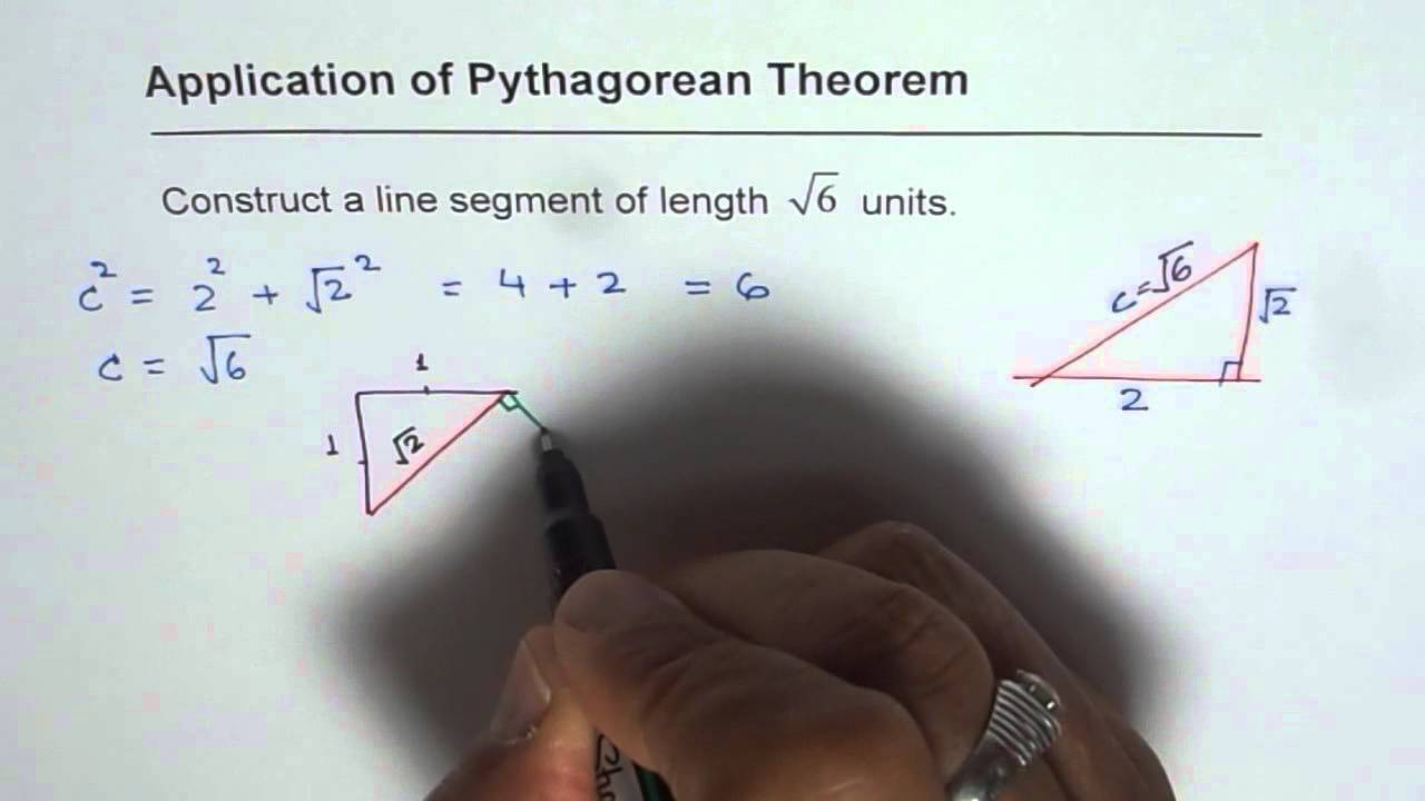 Draw a Line Segment of Square root 6 Irrational Length - YouTube