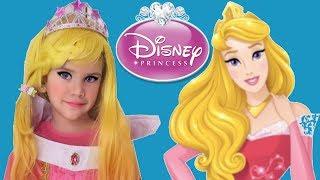 Disney Princess Aurora Play Dress Up in a Real Princess Dresses & Kids Makeup Pretend Play