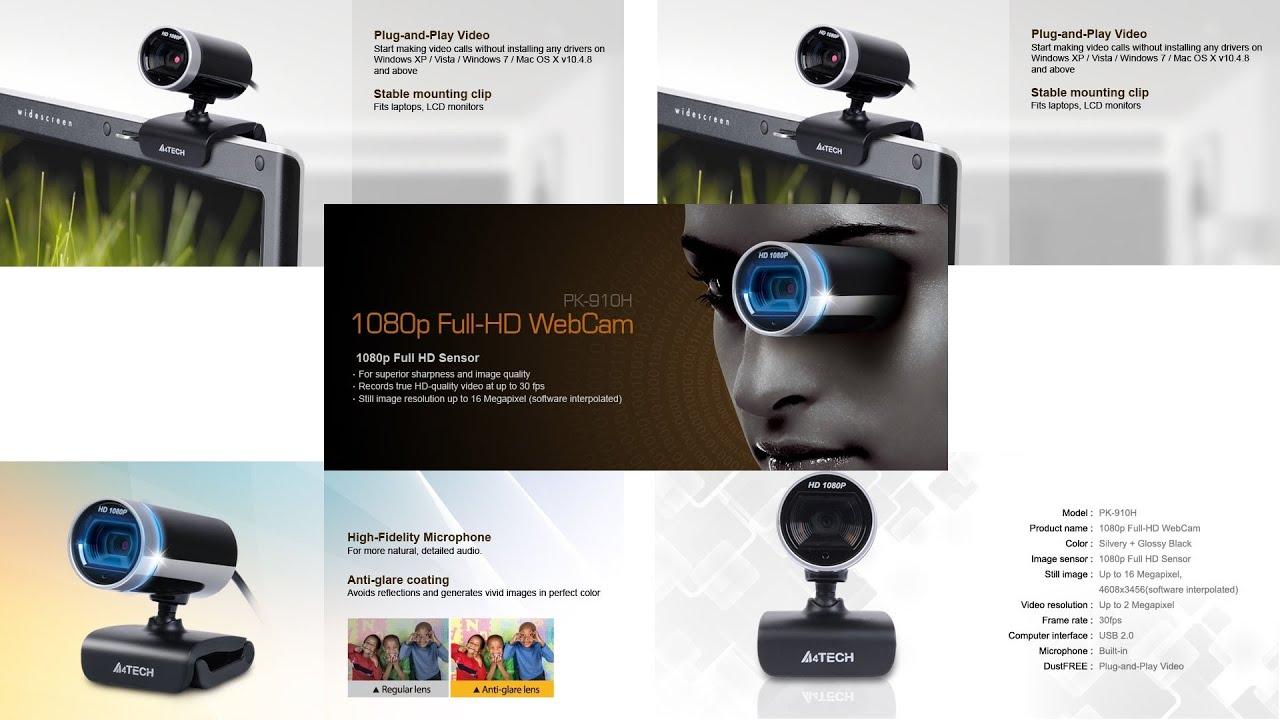A4Tech PK-910H Webcam Drivers for Windows Mac