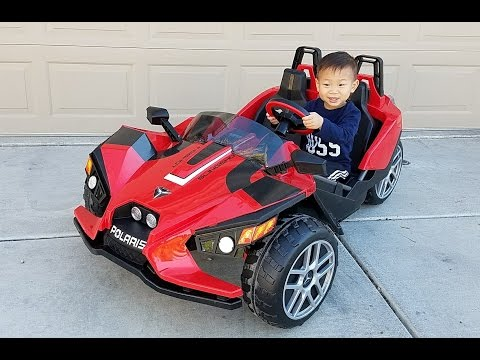 Toddler Unbox, Assemble, & Drive Peg Perego Polaris Slingshot 12V Battery Electric Ride-On Toy Car