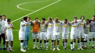 Jubelfeier nach dem Sieg gegen Bayer Leverkusen : Borussia M'gladbach (1:2) Samstag, 17.03.12