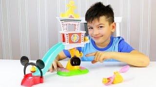 Игрушки для детей - Горка и башня с часами. Обзор новых игрушек с Максом