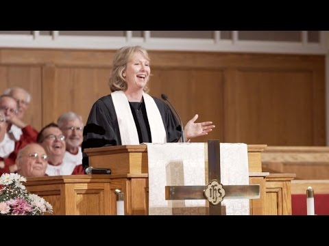 The Rev. Sue Haupert-Johnson preaching at First United Metho