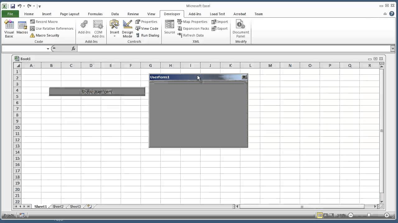 Vba Excel 2010 How To Open A Userform From A Workbook And Continue