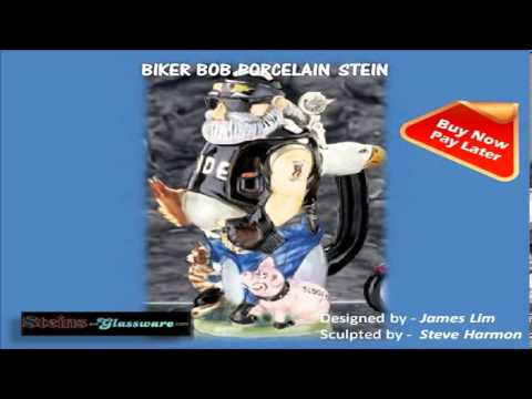 Biker Bob Porcelain Beer Steins (Made in Germany) - Oktoberfest Sale! Get more than 25% Discount!