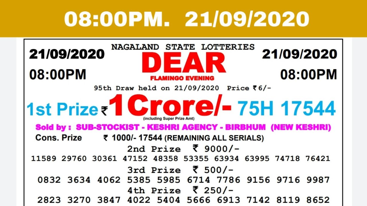 🔴Lottery Sambad Result Live 08.00pm 21.09.20 Nagaland State Lottery Live gdn