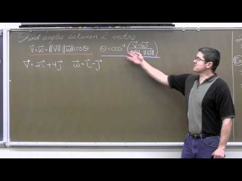 Dot Product & Angle Between Vectors