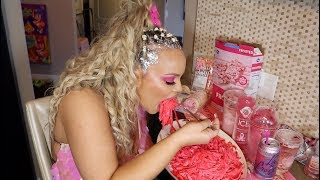 I only ate PINK food for 24 HOURS Challenge!