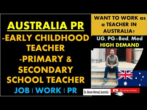 Early Childhood Teacher, Primary And Secondary Teacher Jobs And PR In Australia