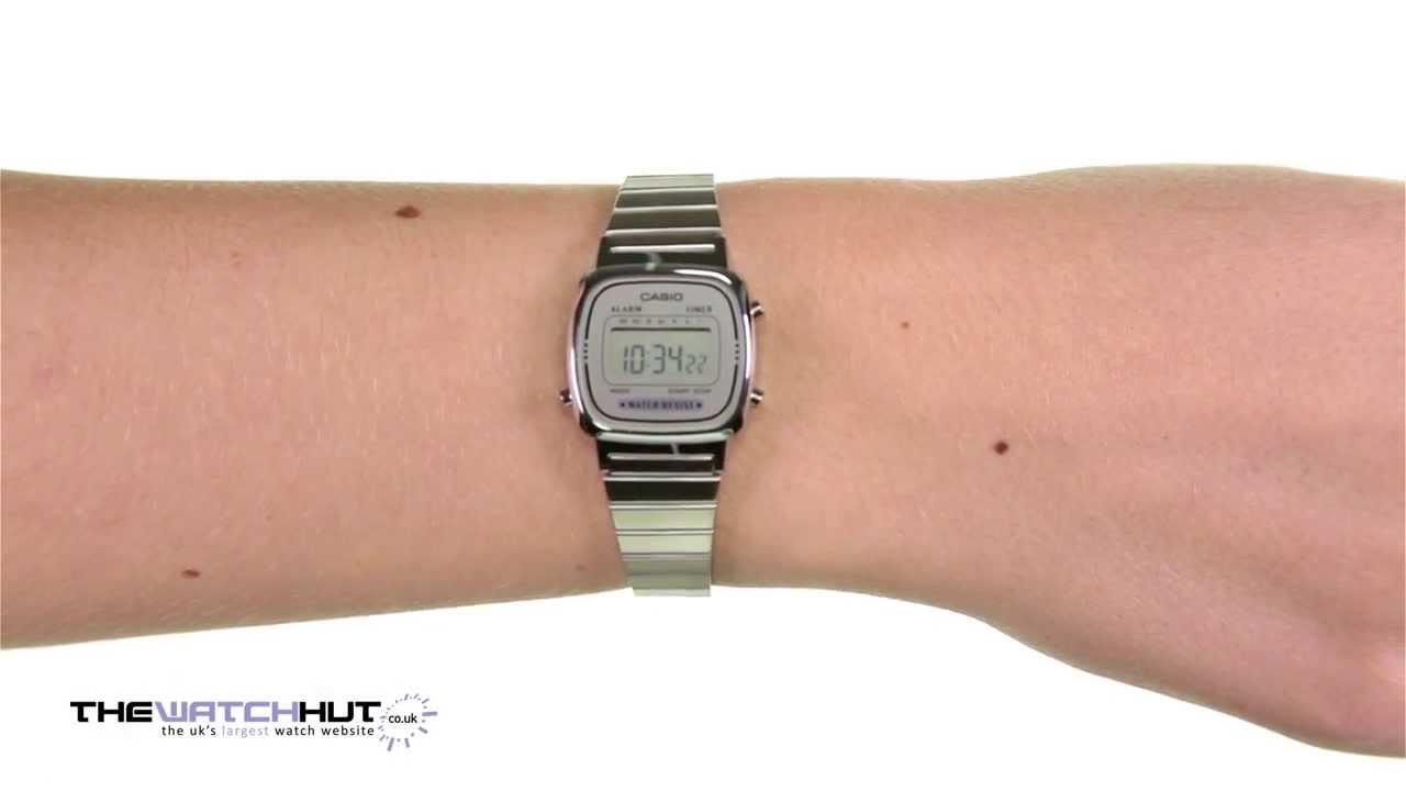 Casio Mini Ladies Silver Tone Digital Watch LA670WEA 7EF - YouTube f83b93c029b
