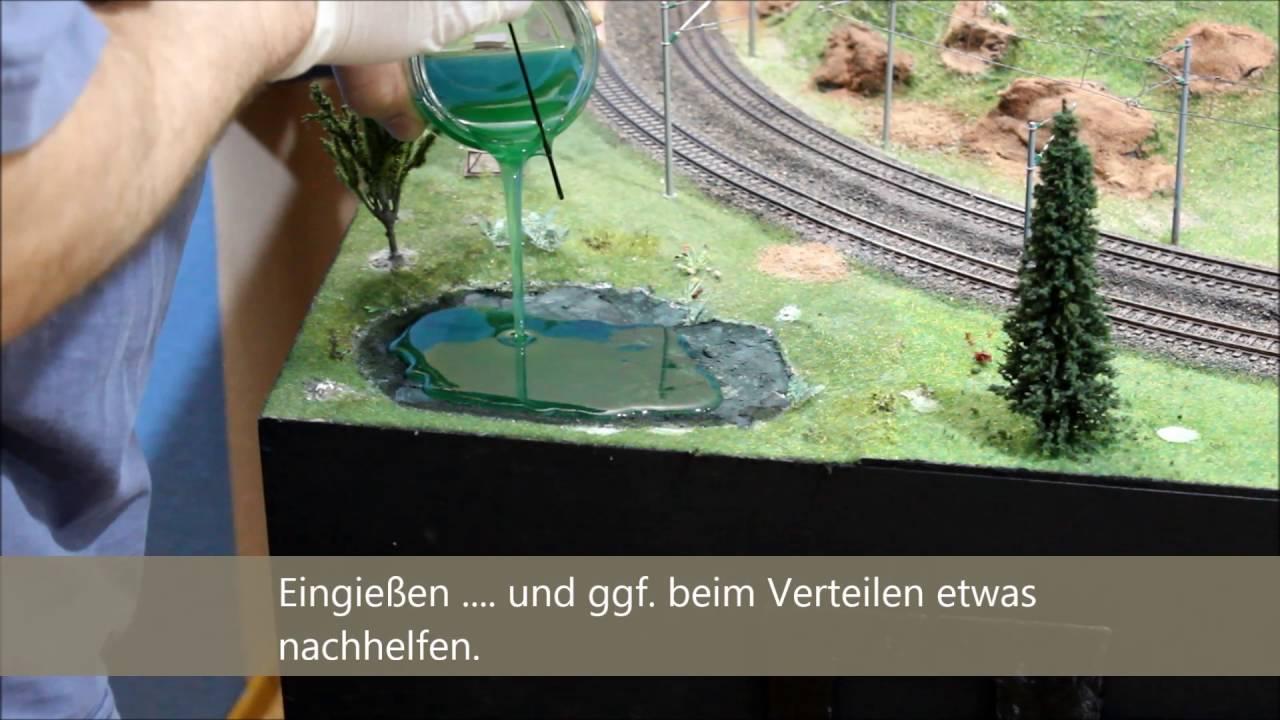 teich / wasser gießen mit epoxidharz - youtube