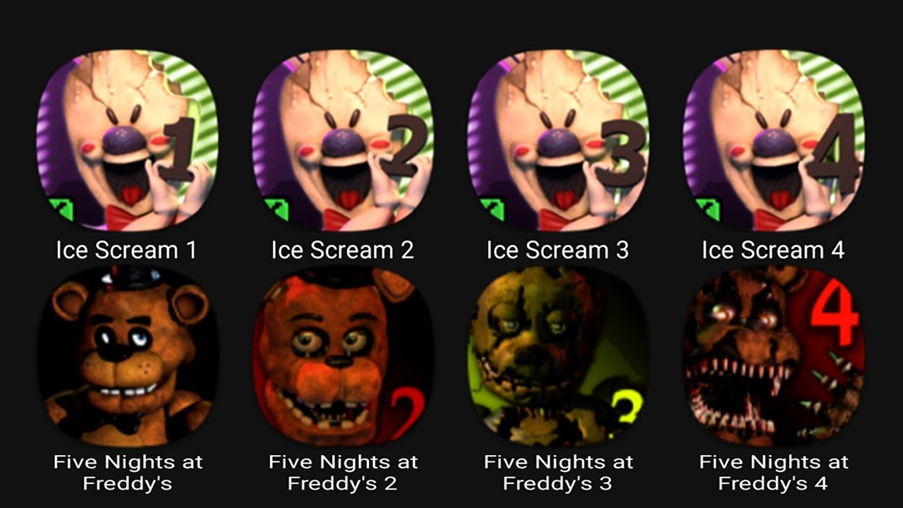 Download Ice Scream 1, Ice Scream 2, Ice Scream 3, Ice Scream 4, Five Nights at Freddy's.....