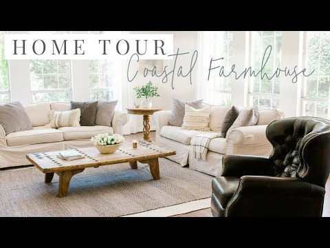 Coastal Farmhouse Home Tour - Kitchen and Living Room