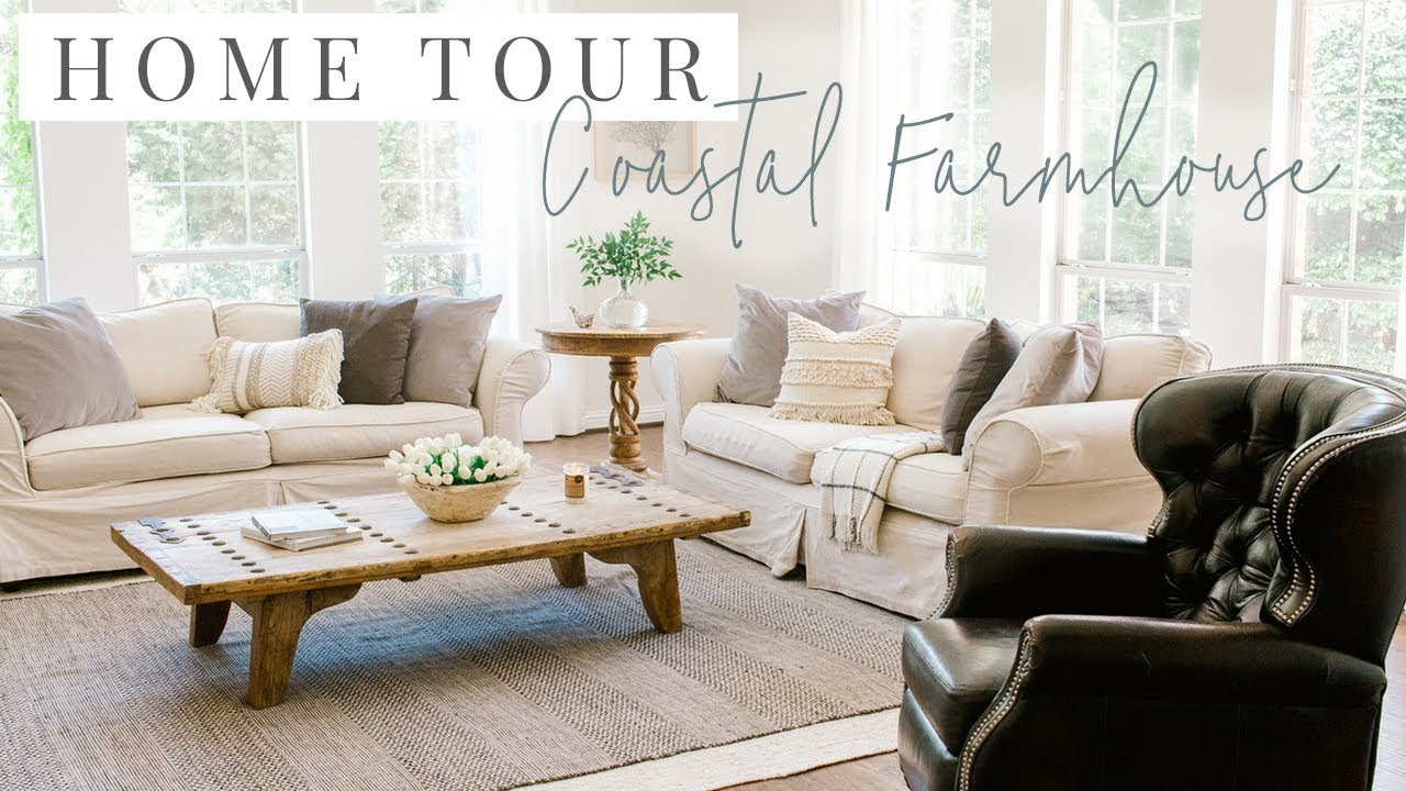 Coastal Farmhouse Home Tour Kitchen And Living Room Youtube