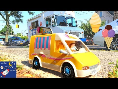 Playmobil Ice Cream Truck Toy & Real Mr Softee NYC Ice Cream Truck For Kids