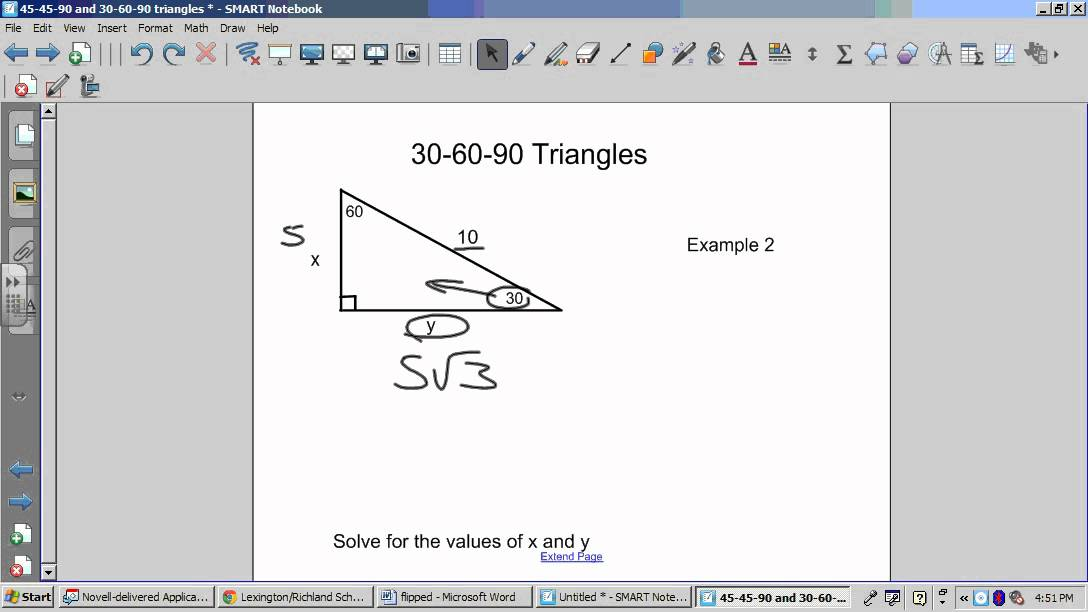 Worksheets Special Right Triangles 30 60 90 Worksheet Answers 7 3 special right triangles 45 90 and 30 60 wmv youtube wmv