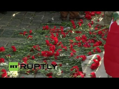 Turkey: Mourners, officials lay flowers at memorial to Istanbul attack victims