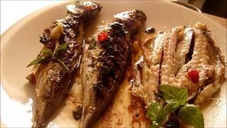 Sauro alla griglia Ставрида на гриле с мятой и уксус бальзамико