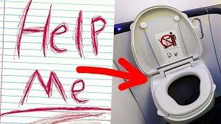 """Flugbegleiterin findet """"Hilf mir"""" Papier in Flugzeugtoilette, und Pilot ruft sofort die Polizei!"""