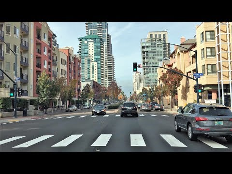 Driving Downtown - San Diego's Market St - San Diego California USA