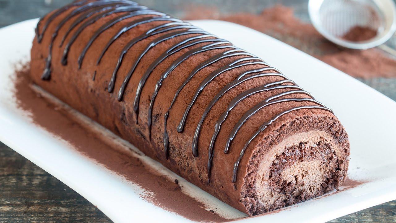 Chocolate Swiss Roll Recipe - YouTube
