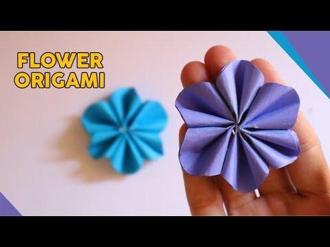 CARA MEMBUAT BUNGA ORIGAMI MUDAH BANGET - How to fold flower paper easy (Tutorial Wow)