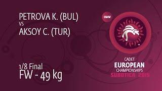 1/8 FW - 49 kg: K. PETROVA (BUL) df. C. AKSOY (TUR), 4-0