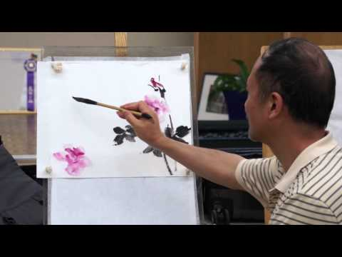 Henry Li Painting Roses with Chinese Brush and Watercolor in a Live Workshop in Portland
