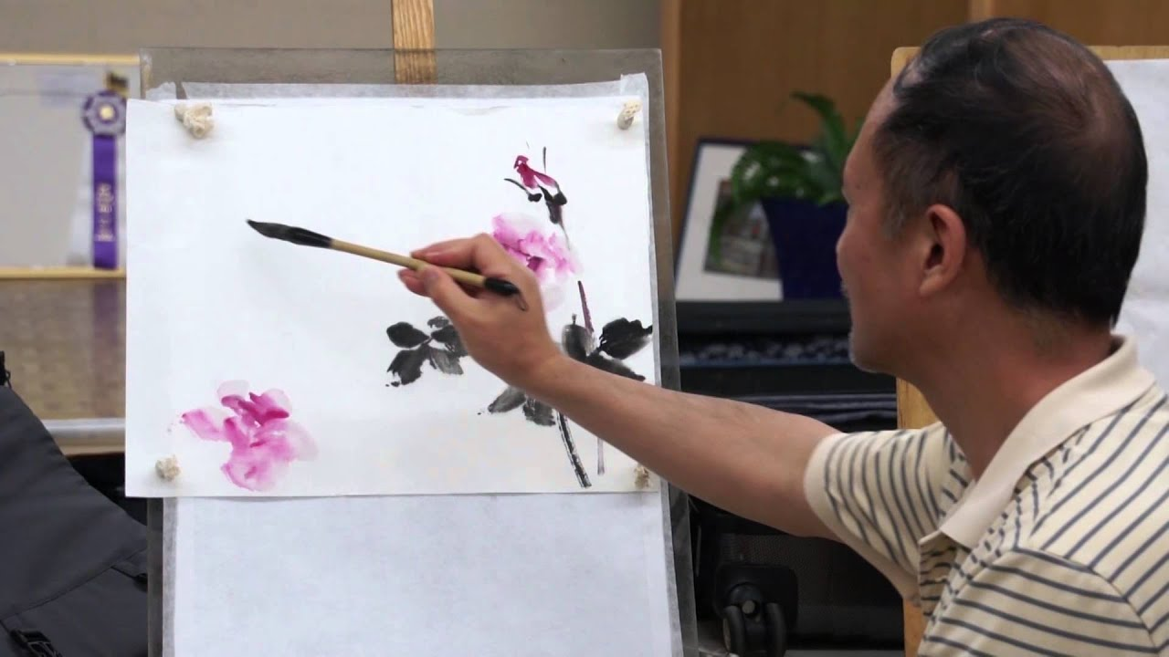 Watercolor art history brush - Henry Li Painting Roses With Chinese Brush And Watercolor In A Live Workshop In Portland Youtube