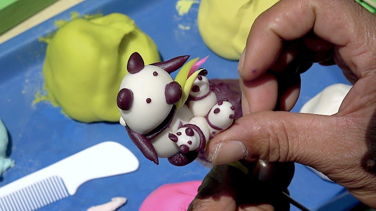 Handmade PANDA family art