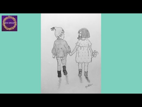 Best Friends Pencil Sketch Tutorial || How To Draw Two Friends Holding Hands thumbnail