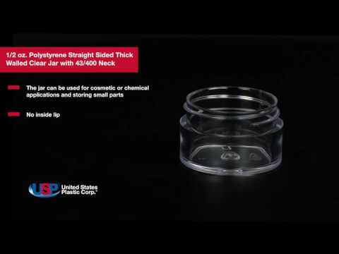 1/2 oz. Polystyrene Straight Sided Thick Walled Clear Jar | U.S. PLASTIC CORPORATION®