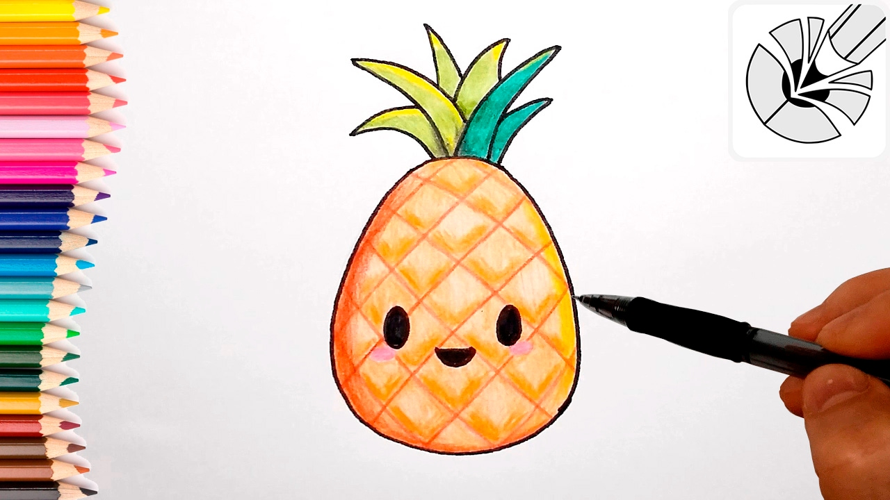 Cute Drawings - How to Draw a Cute Pineapple - Draw and ...