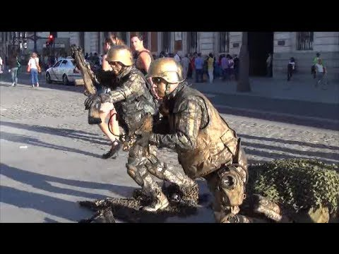 Living Statues. The Assaulting Soldiers. Seen in Madrid, Spain
