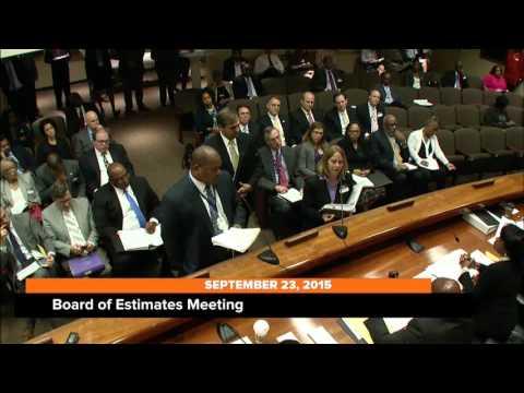 Board of Estimates Meeting, September 23, 2015