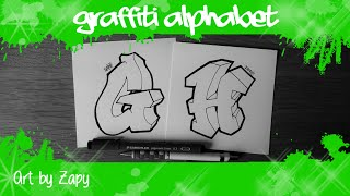 GRAFFITI ALPHABET for beginners   How to draw letters (G & H) | Art by Zapy