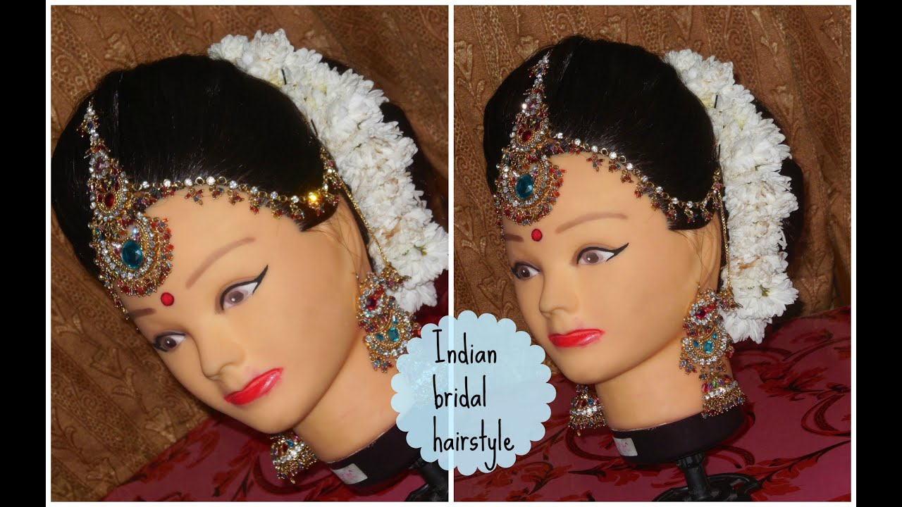 indian bridal hairstyle tutorial (love my hair & makeup) - youtube
