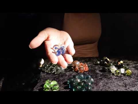ASMR~glass marbles (rolling around, sort by color), glass droppers, water, colors (no talking)