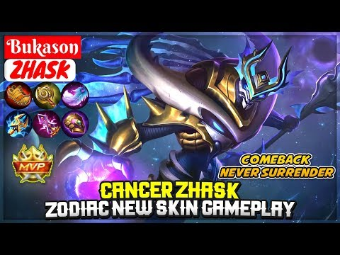 Cancer Zhask, Zodiac New Skin Gameplay [ Top Global Zhask ] Bukason - Mobile Legends