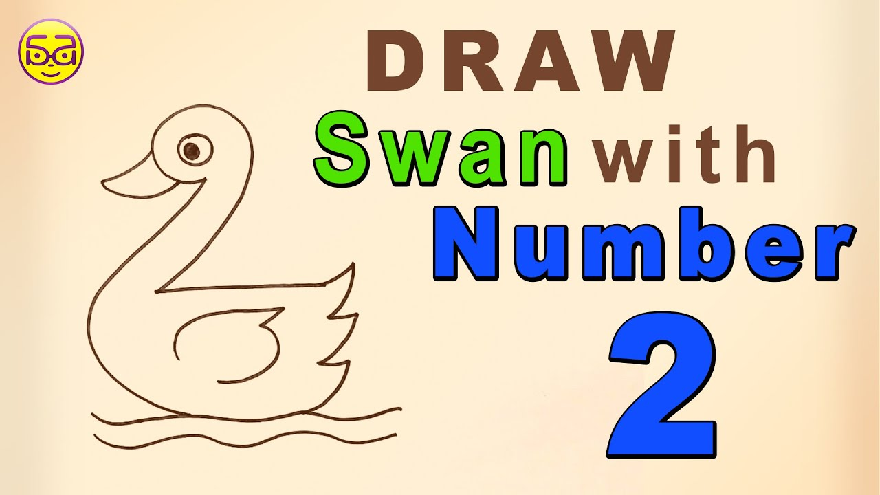 How To Draw Swan With Number 2 Youtube
