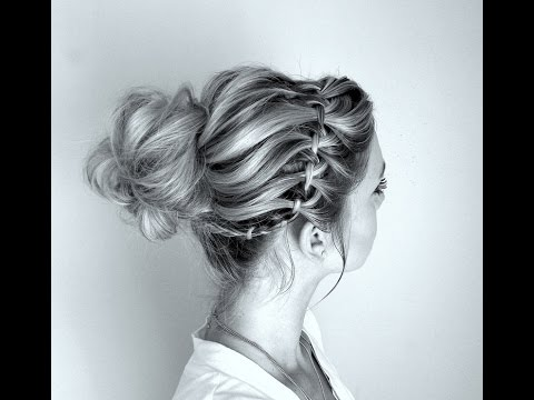 How to Waterfall Braid and Twisted Messy Bun