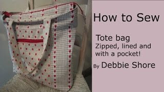 A zippered, lined tote bag for you to sew by Debbie Shore