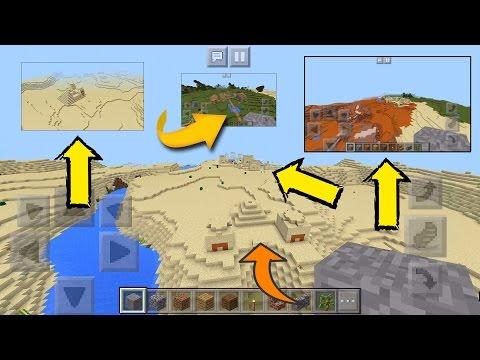 Seed Na Sorte E Olha No Que Deu No Minecraft PE :02 - 4 Vilas E 2 Templos E Bioma De Mesa E Savana