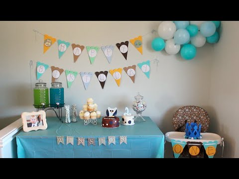 Baby winston 39 s 1st birthday decorations youtube for Baby birthday decoration images