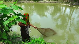 Net Fishing | Traditional cast net fishing in village | Fishing with a cast net (Part-67)