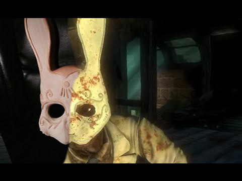 Splicer's rabbit mask, carved out of wood
